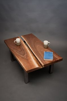 MERCIA - Split Black Walnut COFFEE TABLE - Simple/Modern/Rustic. $849.00, via Etsy.