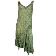 1920's Art Deco Mint Green Silk Asymmetrical Beaded Tea Dress ($100) ❤ liked on Polyvore