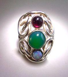Estate Sterling Silver Multi Gem Ring, Chrysoprase, Opal, Red Quartz, Swirls, sz 8 Vintage