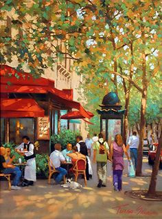 Corner Cafe by Teresa Saia, Pastel, 24 x 18 City Painting, Oil Painting Abstract, Landscape Art, Landscape Paintings, Abstract City, Pastel Art, Fine Art, Art Challenge, Anime Comics