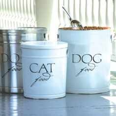 Pet Food Storage Canisters from Ballard.   I have the Silver.  Cute, but I think you could DIY for much cheaper.