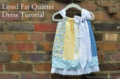 Lined Fat Quarter Dress Tutorial. This would be so cute for my nieces