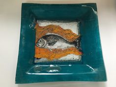 Fused Glass Fish Plate Blue fish plate plate for decorate , handmade fish plate , fish plate made of glass by CamdalGlassArt on Etsy