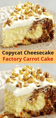 This Carrot Cake Cheesecake C… Copycat Cheesecake Factory carrot cake cheesecake. This carrot cake and cheesecake recipe consists of two layers of carrot cake surrounded by a layer of real cheesecake Cheesecake Factory Carrot Cake, Cheesecake Factory Copycat, Cheesecake Cake, Cheesecake Recipes, Dessert Recipes, Cheesecake Factory Restaurant, Homemade Cheesecake, Carrot Recipes, Blueberry Recipes