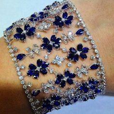 Best Diamond Bracelets : Diamond and Sapphire Bracelet Sapphire Bracelet, Sapphire Jewelry, Sapphire Earrings, Diamond Bracelets, Diamond Jewelry, Bangles, Diamond Rings, Sapphire Pendant, Ruby Rings
