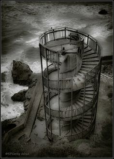 Spiral Staircase Staircase to Nowhere Shell Beach, CA. Old Buildings, Abandoned Buildings, Abandoned Places, Take The Stairs, Stair Steps, Pismo Beach, Shell Beach, Stairway To Heaven, Abandoned Mansions