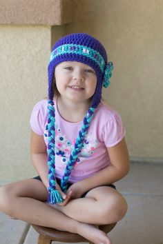 Items similar to Crochet Beanie Hats Charactor Hats Girls Beanies Flower Hat   Crochet Beanie Hat Ear Flaps with Braids Handmade Gifts Purple Alien Hats on  ... 2b882009fc82