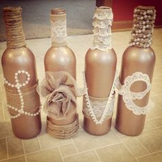 31 Beautiful Wine Bottles Centerpieces Perfect For Any Table (Bottle Centerpieces) Beer Bottle Crafts, Wine Bottle Art, Diy Bottle, Bottle Top, Diy Home Crafts, Jar Crafts, Kids Crafts, Garrafa Diy, Wine Bottle Centerpieces