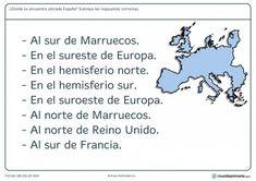 Ficha de situación de España para primaria