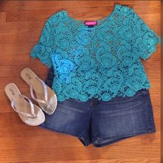 """Beautiful Crochet Crop Top Measures Approx. 18"""" from shoulder to hem and 38"""" bust. Beautiful turquoise color. Top does have some stretch to it. Say What? Tops Crop Tops"""