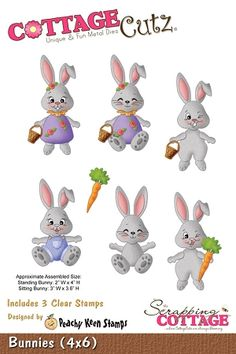 Cottage Cutz-Peachy Keen Spring Series-4x6 Die-Bunnies (w/stamps)