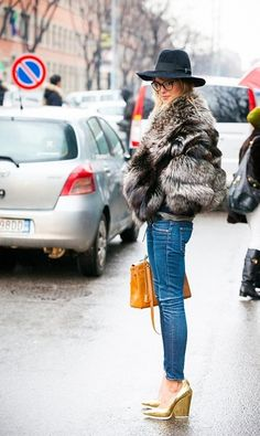 Fur Jacket, Skinny Jeans, Gold Heels