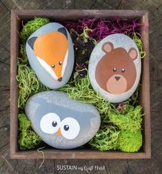 DIY Rock woodland animals - rock painting for kids // Erdei kavics állatok - maci, róka, bagoly (kőfestés gyerekeknek) // Mindy - craft tutorial collection // Rock Painting Patterns, Rock Painting Ideas Easy, Rock Painting Designs, Painting For Kids, Paint Designs, Diy Painting, Painting Videos, Card Designs, Art Clipart