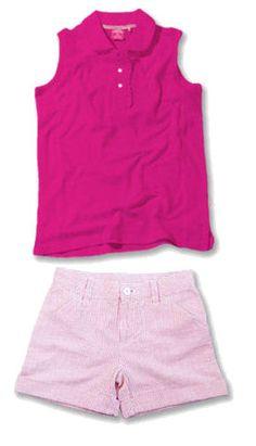 Garb Junior Girls Golf/Tennis Outfits - Haylie Pique Polo Shirts & Calista Shorts - Bright Pink