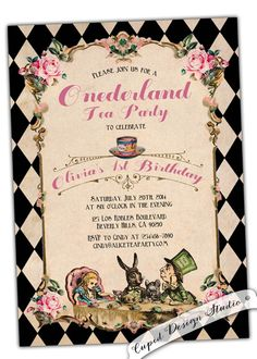 A personal favorite from my Etsy shop https://www.etsy.com/listing/208521111/one-derland-party-invitation-alice-in