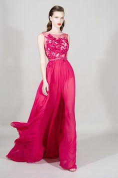 Vestido Comprido De Festa/Baile Rosa-Choque Aplicação Renda