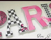Girls Room, Wood Wall Letters, PARIS,  Parisian Glam Theme, Baby Girl Nursery, Wooden Letter, SINGLE, Hot Pink, Black and White