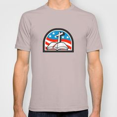 Bible and Cross Stars and Stripes Flag Retro T-shirt