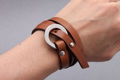 Leather Wrap Men Honey Brown Link Circle Stud by MATHUSORN on Etsy
