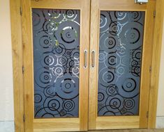 Our glass design doors comes in oak, walnut and grey finishes. Opaque Spiral glass design. #Hoteldoors Hotel Door, Glass Design, Glass Door, Spiral, Doors, Furniture, Home Decor, Puertas, Interior Design