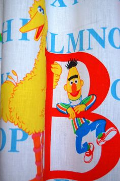 Vintage Sesame Street Curtains Set Of Two By Sprinklesintime 15 00