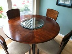 The Lazy susans we made by using round cafe table tops and
