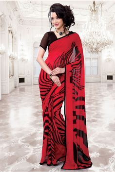 casual printed red saree