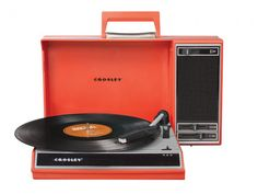 Crosley portable usb turntable.  The 3 speed turntable is a compact stereo-to-go, with a powerful built-in speaker, an adjustable tone dial and audio outlet that lets you hook up your iPhone, or MP3 player too. Highly portable and easily storable, it folds up to resemble a briefcase and a sleek compartment stashes cords. The real secret is that it also converts 33 1/3, 45 and 78 rpm records into digital audio format on both PCs and Macs. Software and a USB cable are provided.