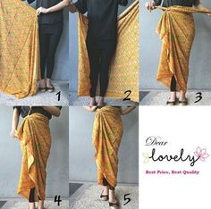 Tying a sarong / pareau. Kebaya Hijab, Batik Kebaya, Kebaya Dress, Kebaya Muslim, Batik Dress, Batik Fashion, Ethnic Fashion, Look Fashion, Hijab Fashion