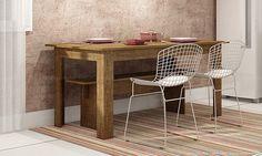 jogo de mesa para cozinha em madeira com banco branco - Pesquisa Google