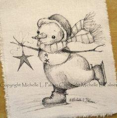 Winter Christmas Snowman Ice Skating Star by MichellePalmer