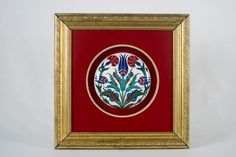 Medium Cini (Iznik Pottery) Half Ball with Gold Frame