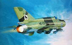 Fishbed L 'Black Lynx' Ilmavoimat (Ishibashi, Fujimi box art) Military Jets, Military Aircraft, Finnish Air Force, Mig 21, Aviation Art, Plastic Model Kits, Art Model, Box Art, Fighter Jets