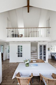 Sea of Girasoles: Interior: summer house - Don't like the floor, but love the idea of a VOID that opens the inside of the house to connect the upper and bottom floor Loft Railing, Barn Kitchen, Upstairs Loft, Beach House Decor, Home Decor, House Stairs, Loft Spaces, Inspired Homes, Beautiful Interiors