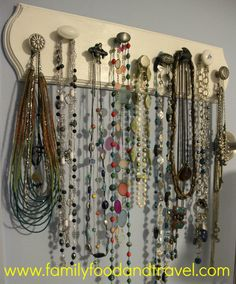 DIY Necklace Organizer..I've been wanting to make my own with different vintage/country knobs :)