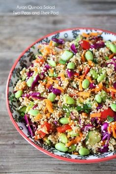 I made this last week. So yummy! Asian Quinoa Salad | Ginger Soy Dressing | apparel