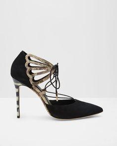 Suede lace up metallic courts Ted Baker Black High Heel Pumps, Black Shoes, Suede Pumps, Pumps Heels, Ted Baker, Baker Baker, Latest Fashion Design, Peep Toe Shoes, Designer Boots