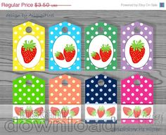 WEEKEND SALE 50 OFF strawberry polka dot gift tag by ArigigiPixel, $1.75