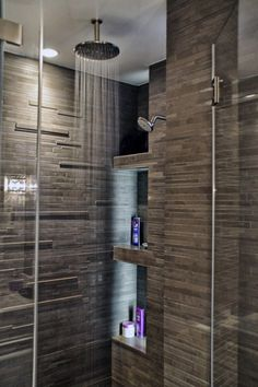 Contemporary Master Bathroom with Frameless glass shower door, Slate mosaic linear tiles, Master bathroom, Rain shower Rain Shower, Glass Shower, Shower Door, Shower Niche, Stone Shower, Contemporary Bathrooms, Modern Bathroom, Contemporary Shower, Bathroom Stand