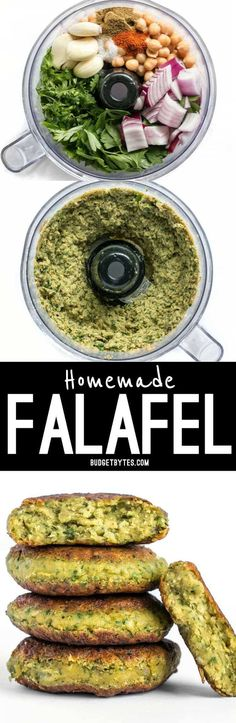 Falafel are an ultra flavorful Mediterranean bean patty packed with fresh herbs and spices. Enjoy as an appetizer, on a salad, or stuffed into a pita. meals meatless Easy Homemade Falafel - Vegan - Step by Step Photos - Budget Bytes Veggie Recipes, Whole Food Recipes, Vegetarian Recipes, Dinner Recipes, Cooking Recipes, Healthy Recipes, Cheap Recipes, Budget Cooking, Vegetarian Cooking