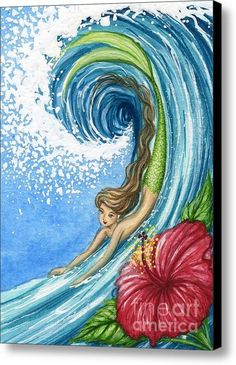 Hibiscus Surf Mermaid Canvas Print / Canvas Art By Hiroko Reaney - fineartamerica