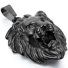 New Vintage Stainless Steel Necklaces Men Animal Lion Head Pendant Black Color with 22 inches Chain Fashion collar collane