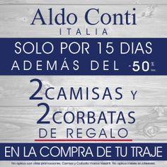 ¡En la compra de tu traje, #AldoConti te regala 2 camisas y 2 corbatas!