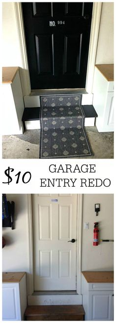 Tired of your boring garage entry door? Check out my $10 garage entry redo. It doesn't take much time and your garage entry will look great!
