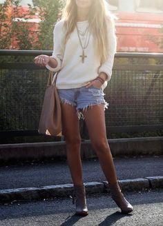 Sweater, cutoffs & booties.