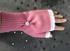 †These are so cute! Made from upcycled sweaters, keep your hands warm in style! from luck and bliss: Raspberry Lemonade Mittens