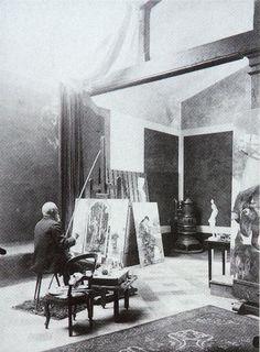 Arnold Böcklin nel suo studio (San Domenico, Villa Bellagio, circa 1900) Si intravedono le seguenti opere: A sinistra: Triptychon (. Andree n 472) In secondo piano: Melancholia (Andree n.474) A destra: Der Krieg (Andree n 460.) Grazie a Arnold Böcklin (Bocklin o Boecklin)