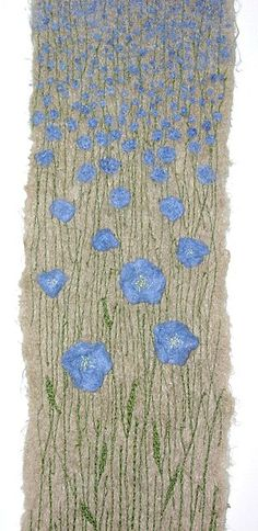 Made about, and of, linen/flax. Embellished linen fibres and machine embroidery. BY ANNE HONEYMAN Freehand Machine Embroidery, Free Motion Embroidery, Free Machine Embroidery, Embroidery Applique, Embroidery Designs, Thread Painting, Fabric Painting, Fabric Art, Creative Textiles