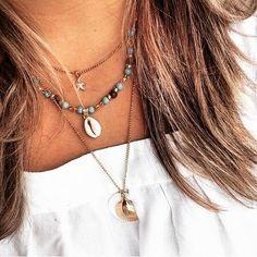 Colar Oceano - Beth Souza AcessóriosColar concha, colar boho, moda boho, acessórios boho, colar com buzio concha do mar e estrela do mar