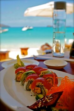 Sushi at Nikki Beach ~ St Barts | Places you will go http://www.wimco.com/villa-rentals/caribbean/st-barthelemy/taste-of-st-barth.aspx | Check out the events and festivities Board for St. Barts / http://www.pinterest.com/wimcovillas/st-barths-events-and-festivities